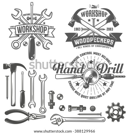Vintage emblem repair workshop and tool shop in vintage style. Working tools. Text on a separate layer - easy to replace. - stock vector