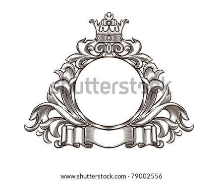 Vintage emblem with crown and ribbon - stock vector