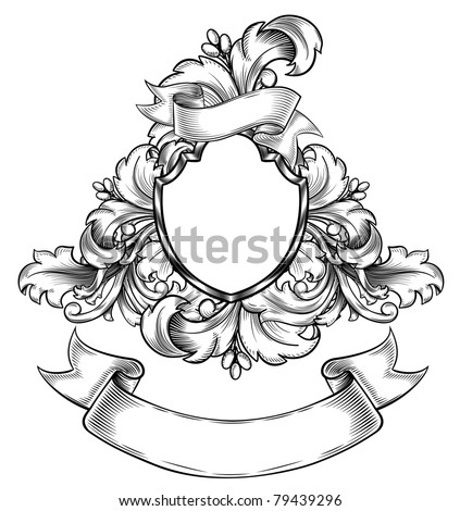 Vintage emblem with ribbon - stock vector