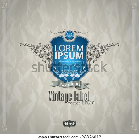 Vintage emblem with shield. Abstract background - stock vector