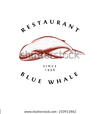 Vintage Emblem with Whale - stock vector