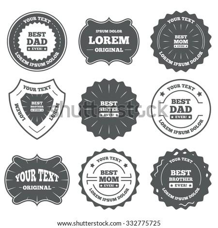 Vintage Emblems Labels Best Mom Dad Stock Vector 332775725