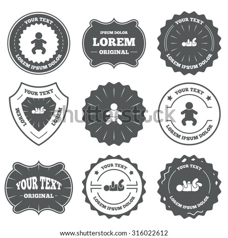 Vintage emblems, labels. Information icons. Stop prohibition and attention caution signs. Approved check mark symbol. Design elements. Vector - stock vector