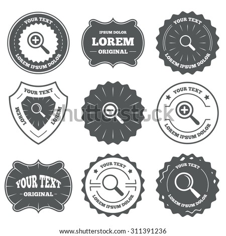 Vintage emblems, labels. Magnifier glass icons. Plus and minus zoom tool symbols. Search information signs. Design elements. Vector - stock vector