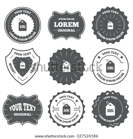 Vintage emblems, labels. Sale price tag icons. Discount special offer symbols. 10%, 20%, 30% and 40% percent discount signs. Design elements. Vector - stock vector