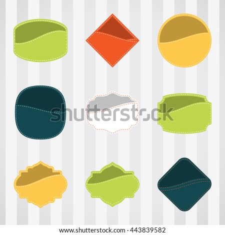 Vintage empty labels set for commerce and premium trade with stitching in pockets. Retro empty badges vector set for internet commerce with stitching in pockets. - stock vector