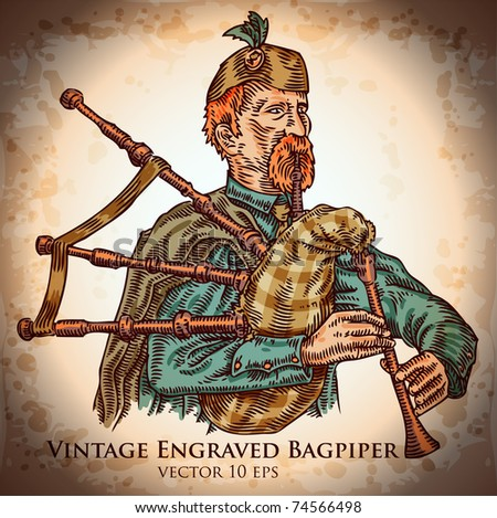 vintage engraved bagpiper - stock vector