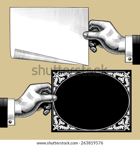 Vintage engraving drawing of hands with paper and old signboard. Vector illustration - stock vector
