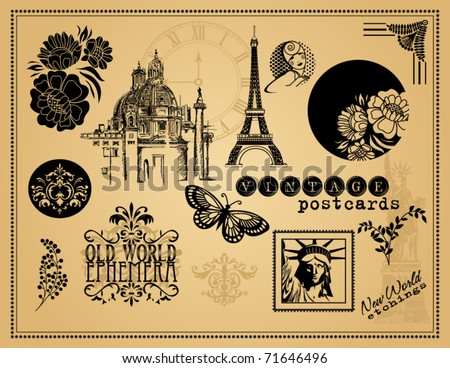 Vintage Etchings and Design Elements - stock vector