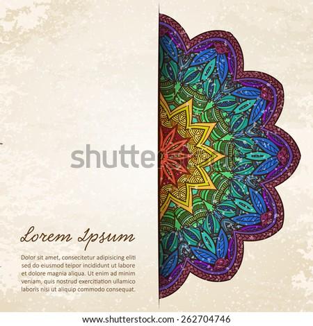 Vintage ethnic colorful background mandala frame. Vector illustration. - stock vector
