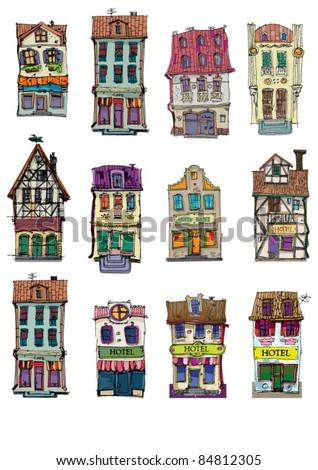 vintage facades - stock vector