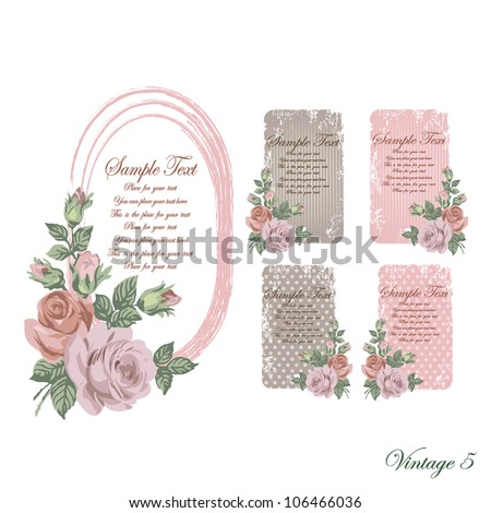 vintage faded frames and cards of brown and pink and beige color with ashen roses with scratches and scuffed - stock vector