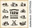 Vintage Farm Buildings Set. Editable EPS10 vector illustration in retro woodcut style with clipping mask and transparency.