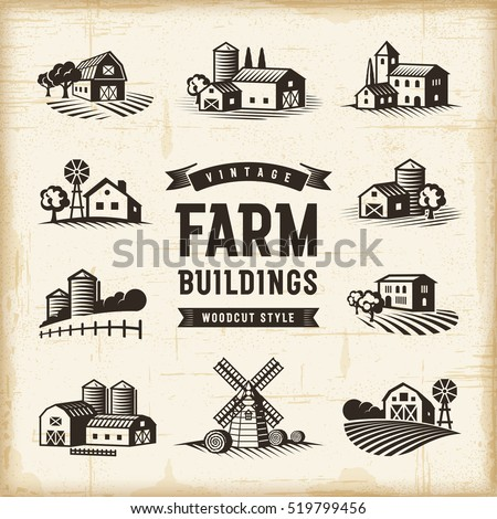Vintage Farm Buildings Set Editable EPS10 Vector Illustration In Retro Woodcut Style With Clipping Mask