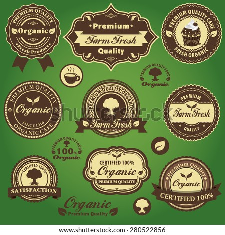 Vintage farm fresh organic label design set with cake, coffee - stock vector