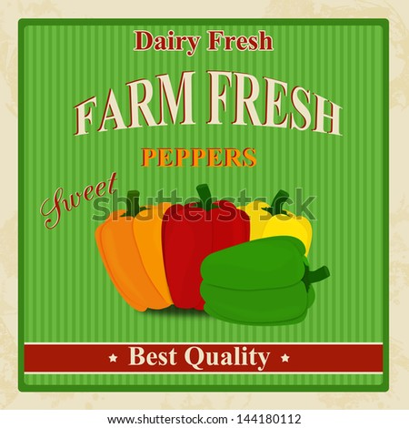 Vintage farm fresh organic peppers poster, vector illustration - stock vector