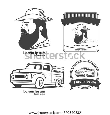 vintage farming logo, design elements and templates, retro car, man portrait, profile view, farmer market idea - stock vector