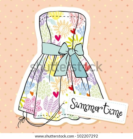 Vintage fashion dress - stock vector