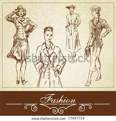 vintage fashion-hand drawn set - stock vector