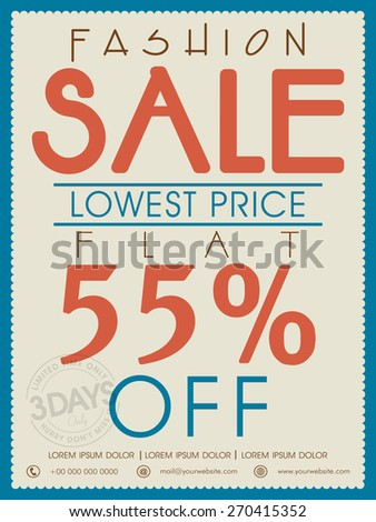 Vintage Fashion Sale poster, banner or flyer design with flat discount offer. - stock vector