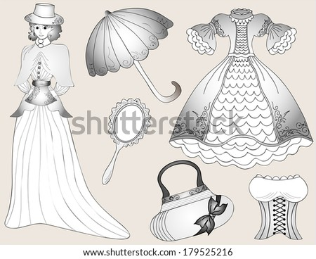 Vintage fashion set. vector - stock vector