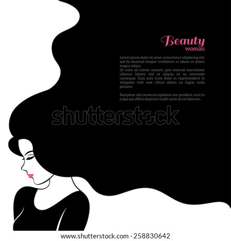Vintage Fashion Woman with Long Hair. Vector Illustration. Stylish Design for Beauty Salon Flyer or Banner. Girl Silhouette - cosmetics, beauty, health  spa, fashion themes. - stock vector