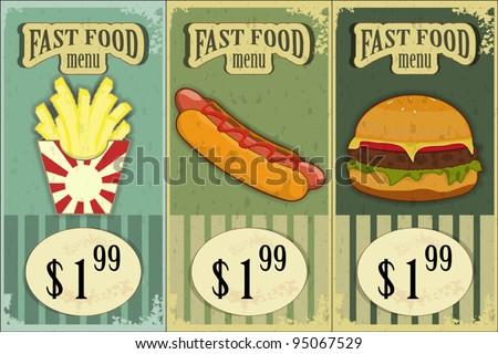 Vintage Fast Food Labels - the food on  grunge background - vector illustration - stock vector