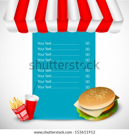 Vintage fast food menu rate card design with hamburger, french fries and drinks.  - stock vector