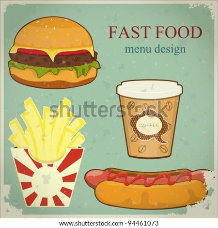 Vintage Fast Food Menu - the food on blue grunge background - vector illustration - stock vector