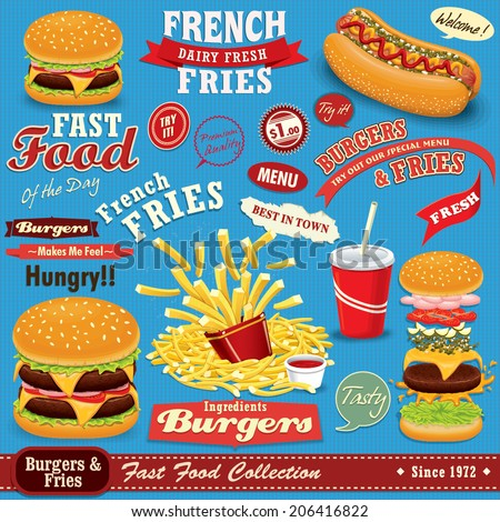 Vintage Fast food poster set design with burgers, fries, hot dog - stock vector
