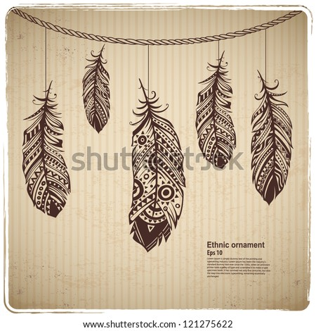Vintage feather background - stock vector