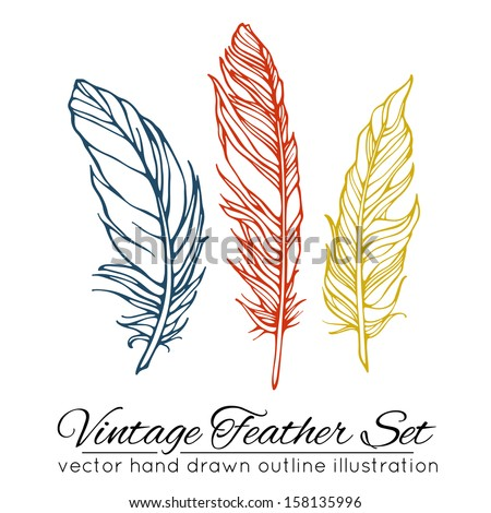 Vintage feather set isolated on white background. Hand drawn vector illustration - stock vector