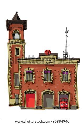 vintage fire station - cartoon - stock vector