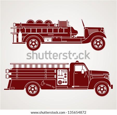 Vintage Fire Trucks - stock vector