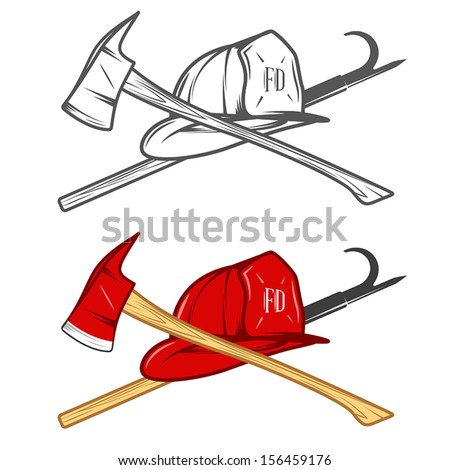 Vintage firefighter helm with crossed axe and pike pole - stock vector