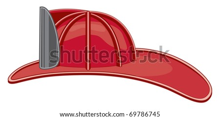 Vintage Firefighter helmet or fireman hat is a three color illustration that can be easily edited or separated for print or screen print. - stock vector