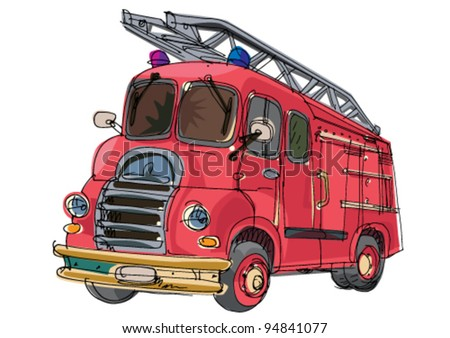 vintage firetruck - cartoon