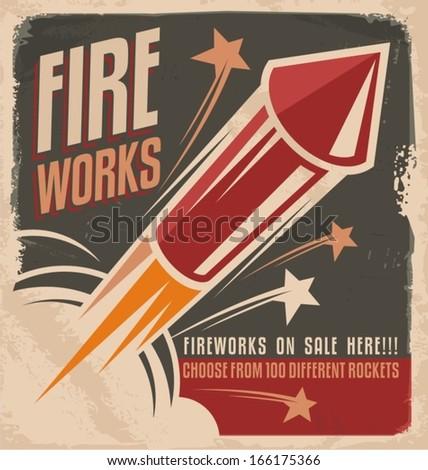 Vintage fireworks poster design. Retro flyer design for fireworks rockets retailer.  - stock vector