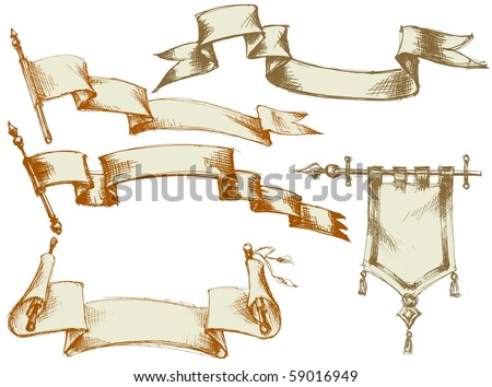Vintage flags and scrolls - set 3 - stock vector
