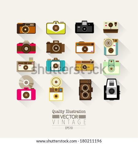 Vintage Flat Camera Vector Icon Set - stock vector