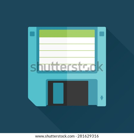 Vintage floppy disk illustration flat graphic with long shadow - stock vector