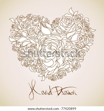 vintage floral background - heart shaped flowers
