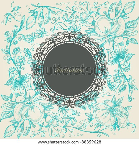 Vintage floral background lace label - stock vector