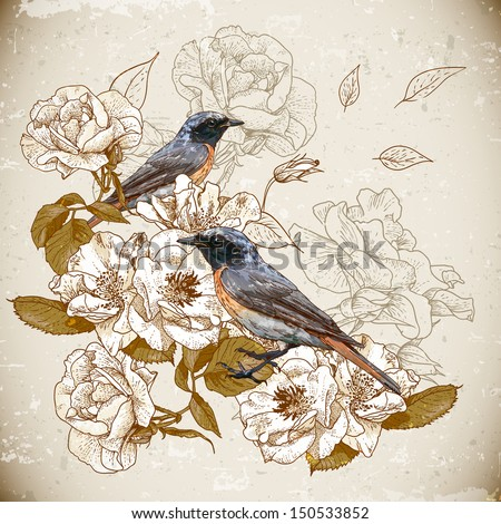 Vintage floral background with birds - stock vector