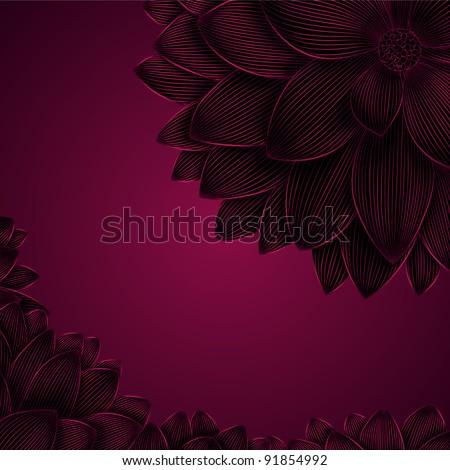 Vintage floral background with flower dahlia. Element for design. - stock vector