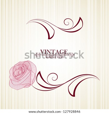 Vintage floral background with flower rose. Element for design. - stock vector