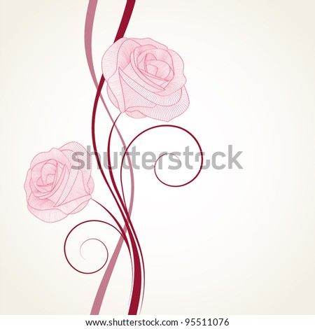 Vintage floral background with flower rose. Element for design. - stock vector