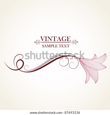 Vintage floral background with flowers lily. Element for design. - stock vector