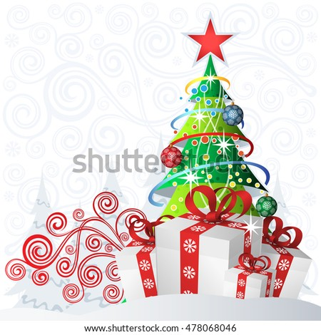 Vintage floral background with gifts and christmas tree.