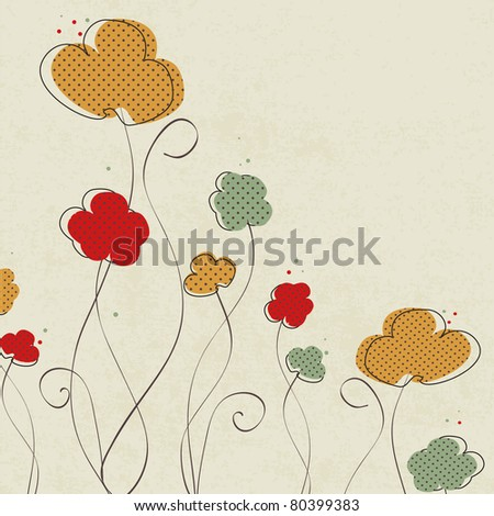 Vintage floral background with multicolored flowers - stock vector